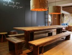 scaffold board table plans - Google Search Country Kitchen, New Kitchen, Kitchen Decor, Kitchen Ideas, Garden Furniture, Furniture Decor, Dining Room Table, Dining Bench, Table And Bench Set