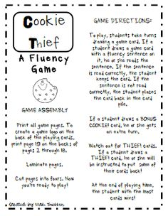 Cookie Thief.pdf A Fluency Game. FREEBIE
