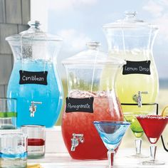 Beverage dispensers...great bridal shower or party idea!!!