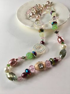 Pink Crystal Beaded Necklace Long Necklace Green Purple by mscenna
