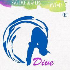 Diving Swimming SVG vector Cutting File for by VinylAndVectors