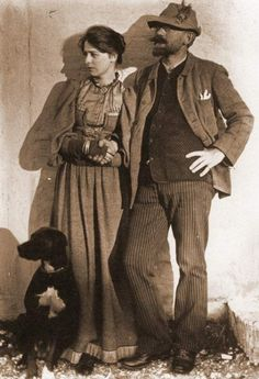 Danish painter P.S. Krøyer, wife Marie and dog.