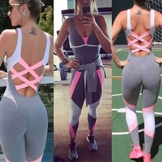 Fashion Women Sport Yoga Set Gym Running Sportwear Suit Fitness Clothing Workout in Clothing, Shoes & Accessories, Women's Clothing, Athletic Apparel | eBay