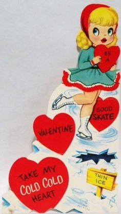 50s Ice Skating Girl Vintage Valentine Card