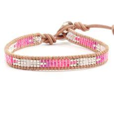 Pink Mix Single Wrap Bracelet on Beige Leather