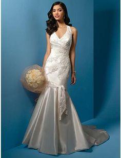 Robe de mariée sirène en Satin avec col en V ornée de d'appliques et de perles