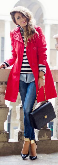 trench, stripes, button down, layers, gold embellished heels - love it all
