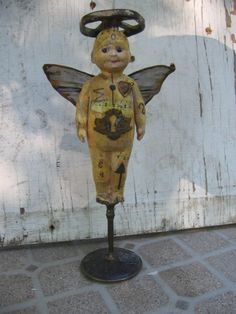 RESERVED  mixed media angel assemblage art doll by OhMyGypsySoul, $74.00