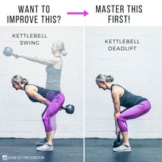 """DO THIS DRILL FOR BETTER KETTLEBELL SWINGS!! The most important thing to master when learning the swing is the hip hinge. A proper hip hinge sets you up for success in the swing, and the best way to ingrain the hip hinge pattern is through kettlebell deadlifts! - The kettlebell deadlift is inherently different from the swing, as it's a """"grind"""" (aka slow and controlled) movement whereas the swing is a """"ballistic"""" (aka fast and powerful) movement."""