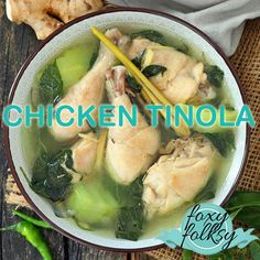 A simple everyday Filipino soup that is very healthy and flavorful This Tinola recipe is made with chicken ginger garlic onion fish sauce chayote red chili leaves and wit. Chicken Recipes Philippines, Chicken Recipes Filipino, Pinoy Food Filipino Dishes, Chayote Recipes, Pork Recipes, Asian Food Recipes, Bangus Recipe, Phillipino Food, Salads