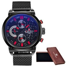 2016 NAVIFORCE Marca de Luxo Relógio de Quartzo Analógico dos homens Homem 3ATM…