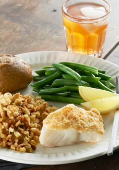 Easy Parmesan-Crusted Fish Dinner — Want a delicious meal for two that'll help you eat smart and prove your kitchen cred? Our Parmesan-coated fish with savory stuffing is head-chef material.