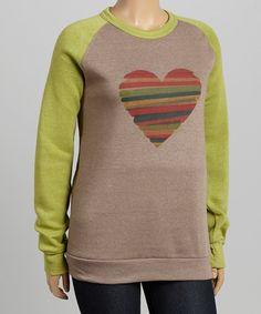 Look at this TROO Brown & Green Heart Raglan Sweatshirt - Plus on #zulily today!