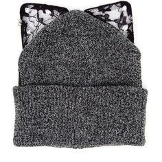 Silver Spoon Attire Bad Kitty Beanie Hat (345 BRL) ❤ liked on Polyvore featuring accessories, hats, head, beanie, gorros, beanie hat, roll up hat, silver spoon attire, faux-fur hat and lace hat