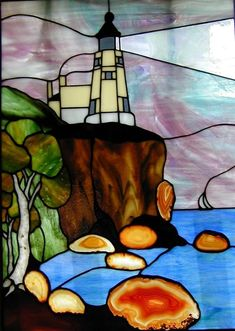 Stained glass lighthouse.