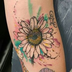 daisy watercolor tattoo - Google Search                                                                                                                                                      More