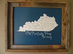 My Old Kentucky Home 11x14 UK Blue Map Print....Both sons were born in Lexington, KY.