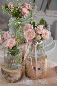 Hochzeit - Stammset Holz Vasen Hochzeit Vintage - ein Designerstück von majalino bei DaWanda #weddingdecoration
