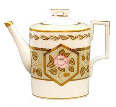 Lomonosov Porcelain Tea Pot Jade Background 4 Cups 33.8 fl.oz/1000 ml