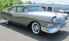 """'57 Supercharged F-Code Ford Fairlane 500 ... said to be the """"only four door made with the very rare, F-code supercharged 312ci V8. A one-year only option, evidence suggests that as few as 100 of these motors were built to meet NASCAR production quotas."""""""