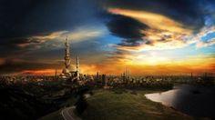 Preview wallpaper islam, mosque, city, sunset 1280x720