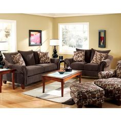 Chelmsford 3 Pieces Living Room Set In Dark Chocolate Finish