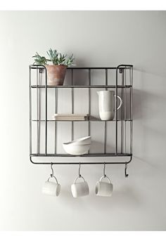 Store your essentials in style with our clever shelf unit. Inspired by the industrial trend, each rustic metal shelf has two solid shelves with copper edge detail and one bottom mesh shelf, plus five hooks for hanging, making it ideal for storing your m Small Storage Shelves, Wire Storage, Metal Shelves, Smart Storage, Storage Racks, Large Shelves, Storage Units, Food Storage, Loft Furniture