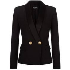 Balmain Crepe Tuxedo Jacket ($2,070) ❤ liked on Polyvore featuring outerwear, jackets, blazers, coats, balmain, tuxedo jacket, tuxedo blazer, blazer jacket, double breasted dinner jacket and tailored jacket