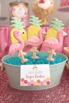 Flamingo and pineapple sugar cookies from Flamingo + Flamingle Pineapple Party at Kara's Party Ideas. See more at karaspartyideas.com!