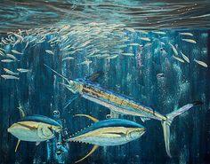 Title  White Marlin Original Oil Painting 24x36in On Canvas   Artist  Manuel Lopez   Medium  Painting - Oil On Canvas