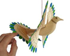 Carved Bird Woodland Mobile Mid Century Modern Art by MyFanbirds