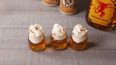 Cinnamon Roll Shooters: 3 parts cream soda to 1 part fireball whiskey with whipped cream and cinnamon garnish!