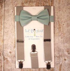 Sage Bow Tie and Grey Suspenders, Toddler Suspenders, Baby Suspenders, Ring Bearer, Green, Celadon, Ring Bearer Suspenders, Grey Suspenders, Ring Bearer Gifts, Ring Bearer Outfit, Wedding Men, Trendy Wedding, Dream Wedding, Sage Green Wedding, Green Sage