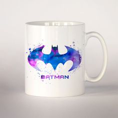 Batman coffee mug 3 Batman watercolor Tea Cup coffee by VividCity