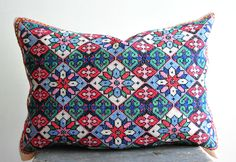 vintage cross stitch pillow, hand embroidered pillowcase, by coloursofvintage on Etsy