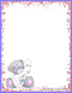 . Free Printable Stationery, Stationery Craft, Tatty Teddy, Teddy Bear Pictures, Blue Nose Friends, Fun Fold Cards, Borders And Frames, Paper Frames, Paper Tags