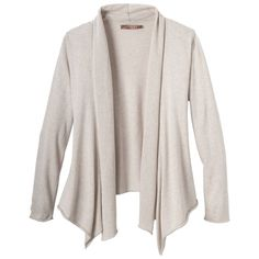 The prAna Georgia Wrap is perfect for elegant and conscience-friendly layering. This 100% organic cotton sweater knit is Fair Trade Certified, ensuring fair wages, high working standards, and investment into community development.Standard Organic Fair Trade Certified    Fine gauge heather sweater knit    Wrap silhouette perfect for layering    Standard fit    100% Organic Cotton