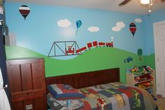 Beautiful and Colorful Train Cars and Truck Wall Murals in Modern Kids Bedrooms Colorful Train and Cars Wall Stickers for Lovely Kids Bedroo...