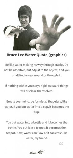 Bruce Lee Water Quote (Graphics) - The World of Positive Energy #brucelee #inspiration #quote #quotes #graphics