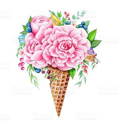 Drawing Flowers Ice cream flowers cone ice cream flowers cone – cliparts vectoriels et plus d'images de aliment libre de droits - Watercolor illustration of flowers, macarons and berries in in waffle cone