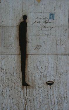 Daniel Airam        painting on letter 25 x 20 cm - 2010