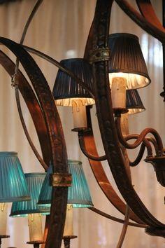 kroonluchter brons hanglamp met kapjes