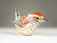 Ceramic Cactus Wren by Wolf Art Glass on Etsy