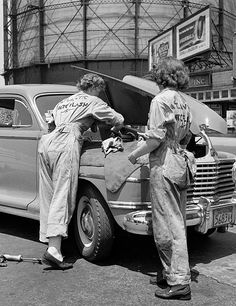 June 1943. Philadelphia, Pennsylvania. Women garage attendants at the Atlantic Refining Company.