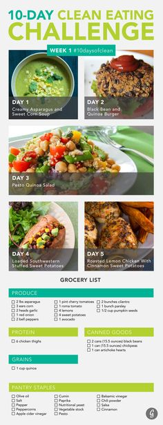 Ready, set, prep! Find all the recipes and ingredients you'll need for your first five days of dining. #10daysofclean #healthy #recipes https://greatist.com/discover/clean-eating-challenge-week-one
