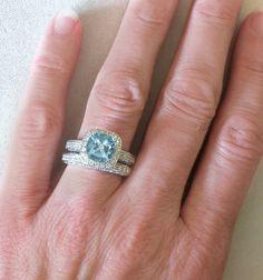 Aquamarine Wedding Rings. just because its my birthstone :)