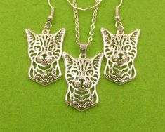 Bengal Cat Lover Laser Cut Pendant Necklace + Earring Set  Price: 6.38 & FREE Shipping  #pets #dog #doglovergifts