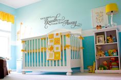 """""""Your First Breath Took Ours Away"""" vinyl wall decor nursery crib decal. See a lot more decals at www.lacybella.com"""