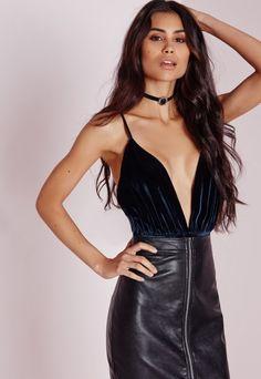 Velvet Plunge Bodysuit Navy - Velvet - Bodysuit - Tops - check out my blog :) handlethisstyle.com