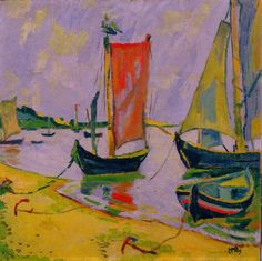 Pechstein, Max (German, 1881-1955) =) Coastal Scene with Fisherboats